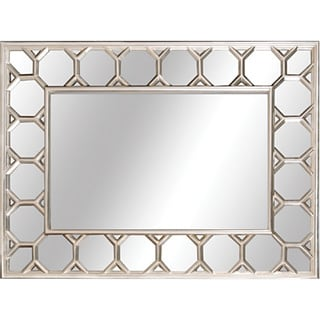 Antique Silver Finish 40.50-inch Framed Beveled Glass Mirror