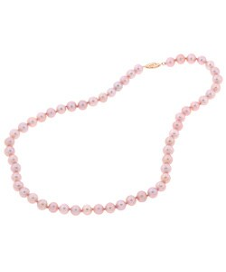 DaVonna 14k Gold Pink FW Pearl 16-inch Necklace (10-11 mm)
