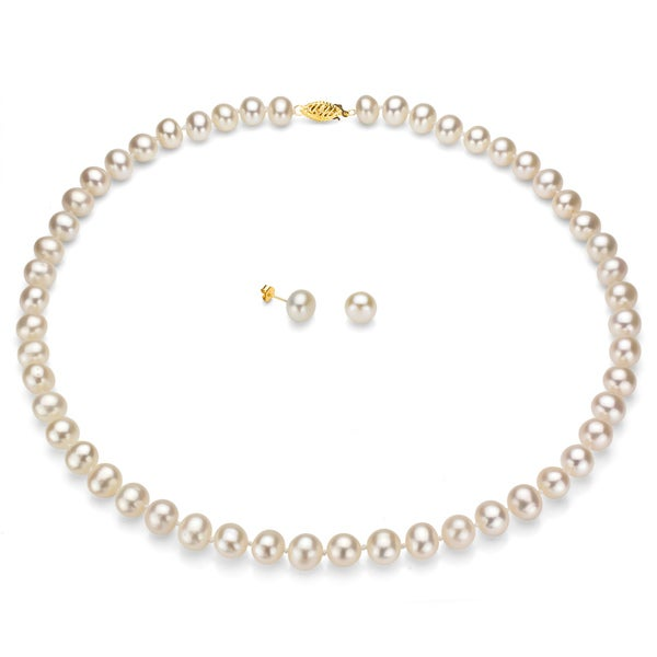 DaVonna 14k Gold White Freshwater Pearl Necklace-Earring Set with Gift Box