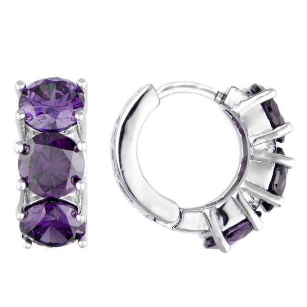 Purple CZ Petite Hoop Earrings