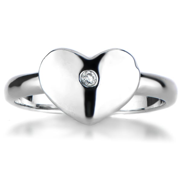 Sterling Silver Engravable Heart CZ Promise Ring