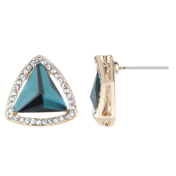 Blue Teal CZ Estate Style Stud Earrings