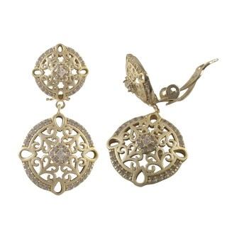 Luxiro Sterling Silver Gold Finish Cubic Zirconia Filigree Clip-on Dangle Earrings