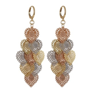 Tri-color Gold Finish Lacy Hearts Chandelier Dangle Earrings