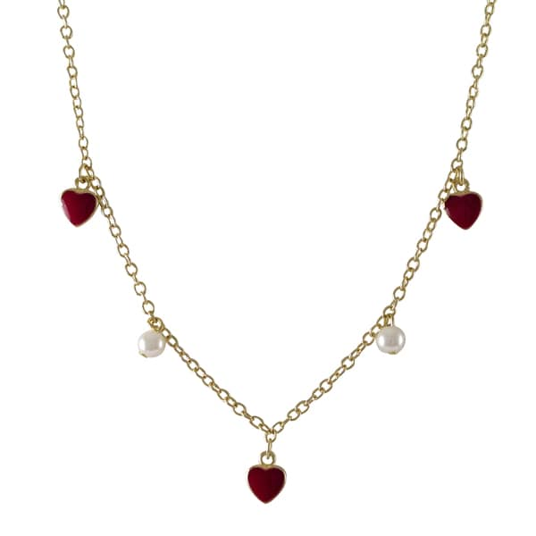 Gold Finish Children's Faux Pearl Enamel Hearts Necklace