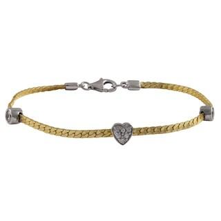 Sterling Silver Two-tone Cubic Zirconia Heart Bracelet