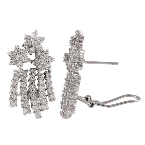 Sterling Silver Cubic Zirconia Floral Bouquet Earrings