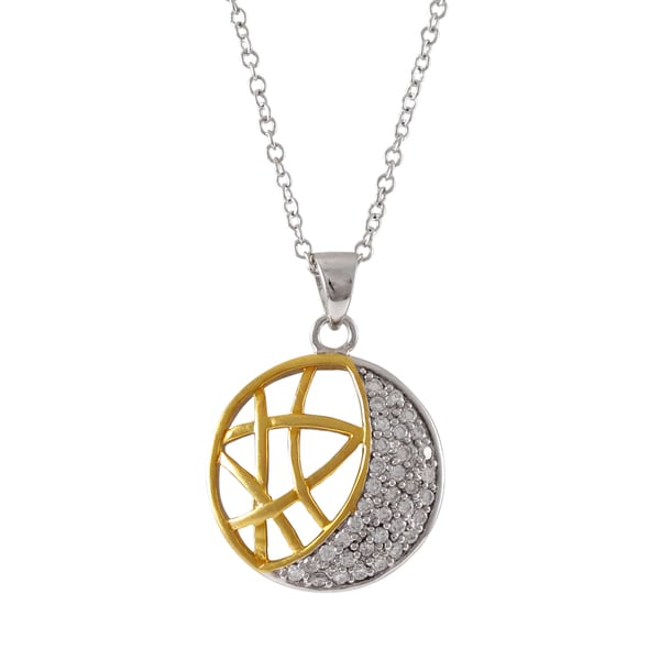 Two-tone Sterling Silver Cubic Zirconia Crescent Moon Pendant Necklace