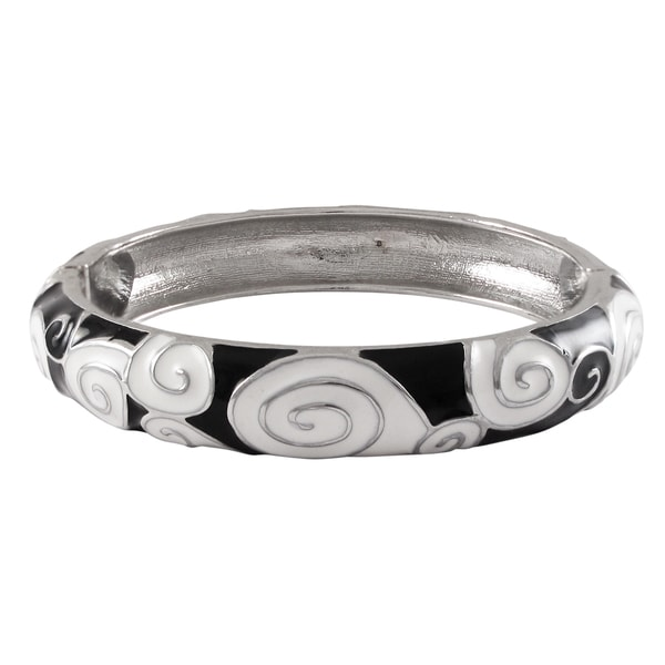 Rhodium Finish Black and White Enamel Spiral Bangle Bracelet