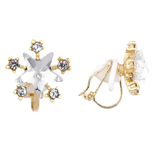 Rhinestone Star Clip On Earrings