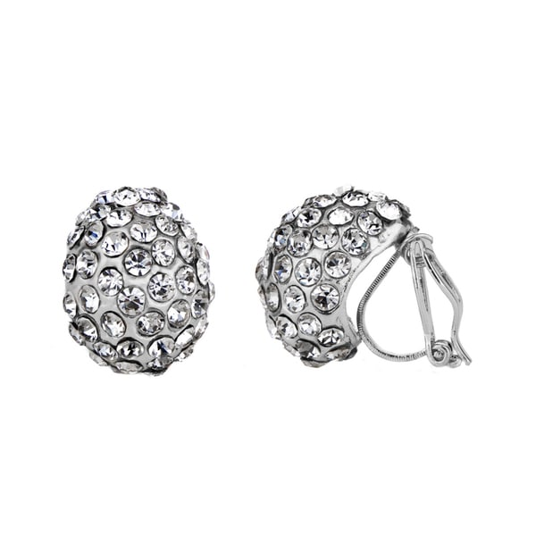 Silver Rhinestone Tear Drop Clip On Earrings