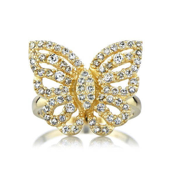 Gold Color CZ Pave Butterfly Cocktail Ring