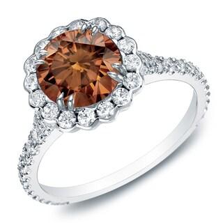 Auriya 14k Gold 1 1/2ct TDW Round Brown Diamond Halo Engagement Ring (Brown, SI2-I1)