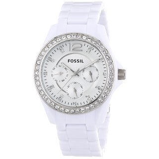 Fossil Women's Riley Diamond Multi-Function Silver Dial White Resil Bracelet Watch ES3252