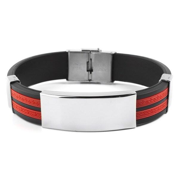 Men's Stainless Steel ID Tribal Design Rubber Bracelet 15890330