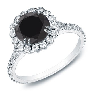 Auriya 14k Gold 1 1/2ct TDW Round Black Diamond Halo Engagement Ring (Black, SI2-I1)
