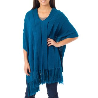 Alpaca 'Illusions of Blue' Poncho (Peru)