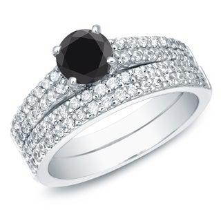 Auriya 14k Gold 1 1/2ct TDW Round Black Diamond Bridal Set (Black, SI2-I1)