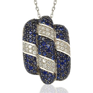 Suzy Levian Sterling Silver and 18K Gold Sapphire and Diamond Pendant With Chain