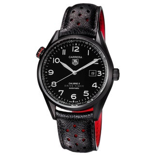 Tag Heuer Men's WAR2A80.FC6337 'Carrera' Black Dial Black Leather Strap Swiss Automatic Watch