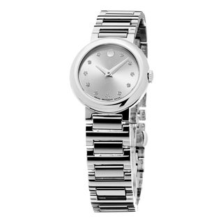 Movado Women's 0606789 'Concerto' Silver Diamond Dial Stainless Steel Swiss Quartz Watch