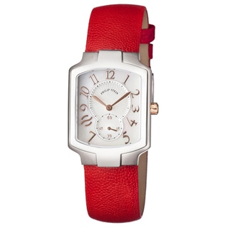 Philip Stein Women's 21-RGMOP-CPR 'Signature' Mother of Pearl Dial Red Leather Strap Swiss Quartz Watch