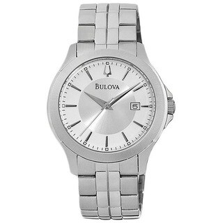Bulova Men's 96B167 Stainless Steel Silver Tone Dial and date Watch
