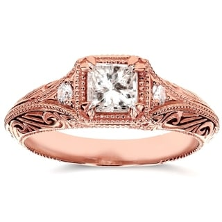 Annello 14k Rose Gold 5/8ct TDW Diamond Antique Filigree Engagement Ring (H-I, I1-I2)