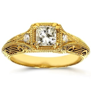 Annello 14k Yellow Gold 5/8ct TDW Diamond Antique Filigree Engagement Ring (H-I, I1-I2)