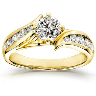 Annello 14k Yellow Gold 1ct TDW Round Diamond Bypass Engagement Ring (H-I, I1-I2)