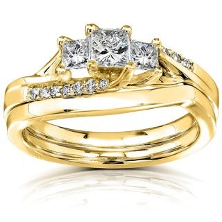 Annello 14k Yellow Gold 1/2ct TDW Princess Diamond Curved Three Stone Bridal Ring Set (H-I, I1-I2)