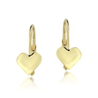 Mondevio 10k Gold Heart Leverback Earrings