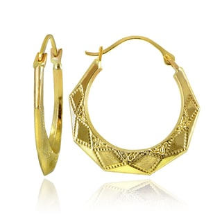 Mondevio 10k Gold Diamond-cut Design Hoop Earrings