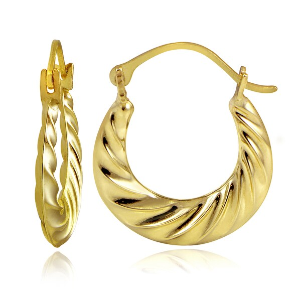 Mondevio 10k Gold Corrugated Twist Hoop Earrings