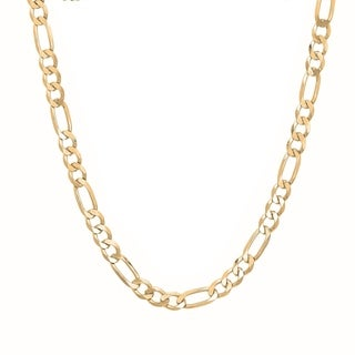 Sterling Essentials Italian 14k Gold over Silver 4 mm Diamond-Cut Figaro Chain (18-30 Inch)