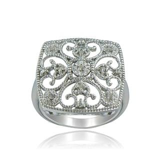 DB Designs Sterling Silver 1/10ct TDW Diamond Square Filigree Ring