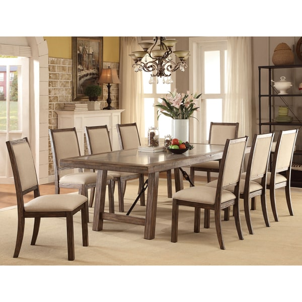 Rustic 8 Person Large Kitchen Dining Table Solid Wood 9 Pc: Furniture Of America Bailey Rustic 9-Piece Weathered Elm