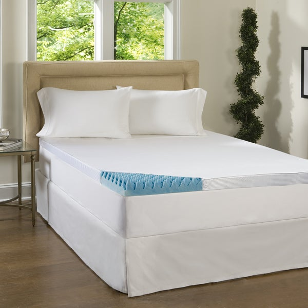 Beautyrest 4-inch Sculpted Gel Memory Foam Mattress Topper with Polysilk Cover Queen Size (As Is Item)