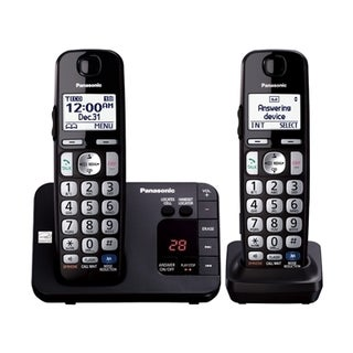 Panasonic KX-TGE232B DECT 6.0 Expandable Digital Cordless Answering System with 2 Handsets (Refurbished)