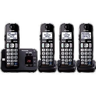 Panasonic KX-TGE234B DECT 6.0 Expandable Digital Cordless Answering System with 4 Handsets (Refurbished)