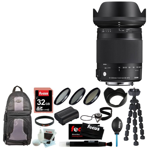 Sigma 18-300mm F3.5-6.3 DC Macro OS HSM For Canon + 32GB Accessory Bundle