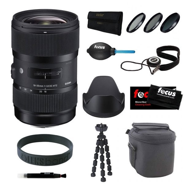 Sigma 18-35MM F1.8 DC HSM Zoom Lens for Canon DSLR Cameras + Deluxe Accessory Bundle