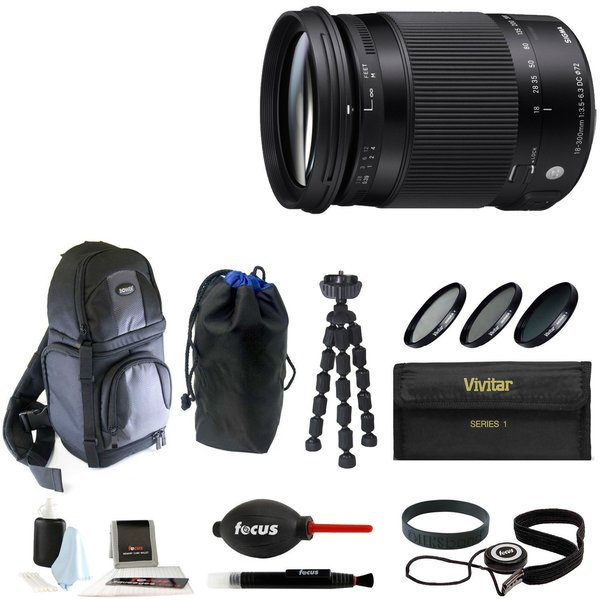 Sigma 18-300MM F3.5-6.3 DC Macro OS HSM For Nikon + Deluxe Accessory Bundle