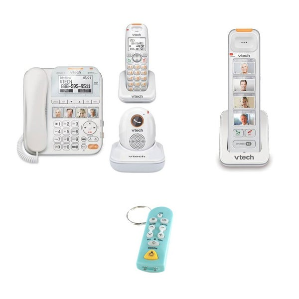 VTech SN6197 CareLine DECT_6.0 2-Handset Home Safety Landline Telephone + Cordless Handset and Keychain TV Remote/Flashlight