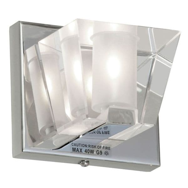 Dainolite 1-light Sconce Fixture with Optical Crystal Shade in Polished Chrome Finish