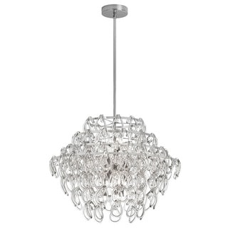 Dainolite 12-light Glass Loop Chandelier in Polished Chrome Finish