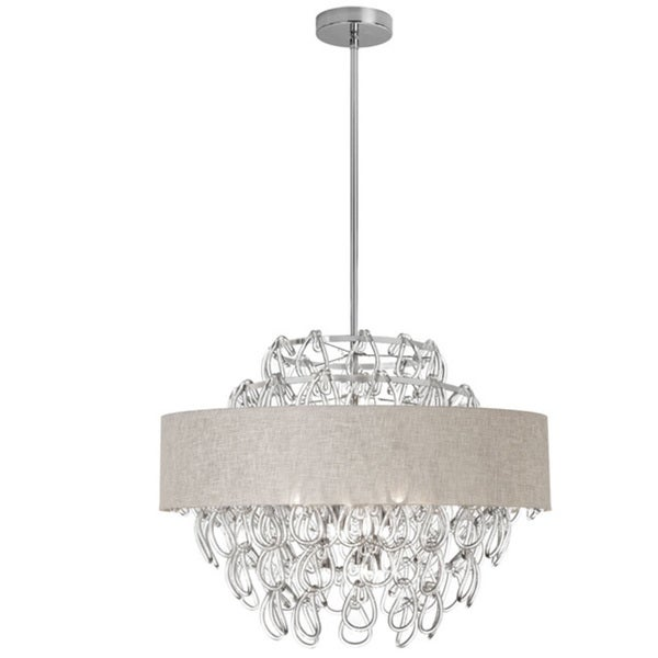 Dainolite 12-light Glass Loop Chandelier in Polished Chrome Finish with Linen Cream Shade