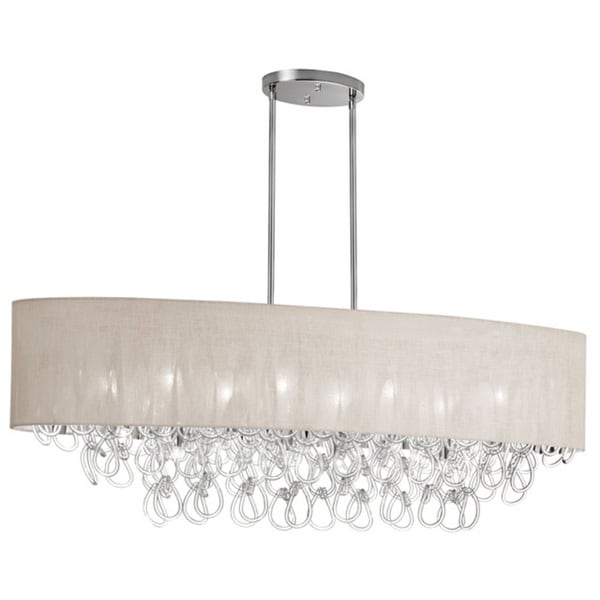 Dainolite 8-light Glass Loop in Oval Chandelier in Polished Chrome Finish in Linen Cream Shade
