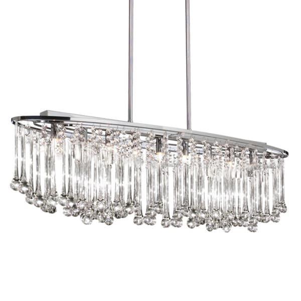 Dainolite 8-light Horizontal Polished Chrome Chandelier with Glass Droplets