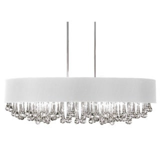 Dainolite 8-light Horizontal Polished Chrome Chandelier with Glass Droplets in White Shade